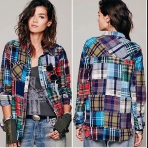 Free People  rare patchwork flannel